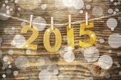 stock photo of clotheslines  - New year 2015 vintage style with bokeh - JPG
