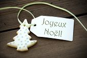Christmas Label With Joyeux Noel