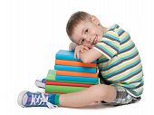 Cute Little Boy And Books