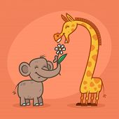 Concept, characters elephant flower and giraffe