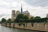 Notre Dame Cathedral Across The River Seine, Paris, France