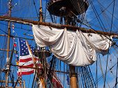 Ship Rigging And American Flag