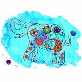 Elephant In Blue Watercolour Backdrop For Design Fabrics, T-shirts, Dishes And Other Purposes