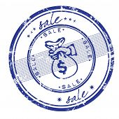 image of sack dollar  - Grungy rubber office stamp with the word sale written inside the stamp - JPG
