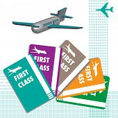 picture of first class  - Abstract colorful illustration with various plane tickets with the text first class written on each of them - JPG