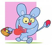 Hyper Blue Bunny Rabbit With Its Tongue Hanging Out, Running And Holding Up An Egg And Carrying A Ba