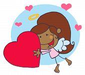 Sweet Black Female Stick Cupid Holding A Heart