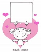 Stick Girl Cupid Holding A Blank Sign
