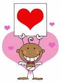 Stick Black Boy Cupid Holding A Red Heart Sign