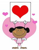 Cute Stick Black Girl Cupid Holding A Red Heart Sign