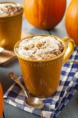 pic of latte  - Autumn Pumpkin Spice Latte with Milk and Cream - JPG