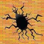 Crack On A Brick Background
