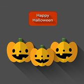 Happy Halloween Trio Pumpkins Flat Illustration