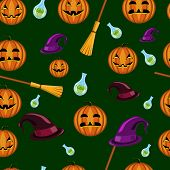 Halloween Seamless Pattern With Pumpkins, Witches Hats And Brooms