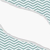 Teal And White Chevron Frame With Torn Background