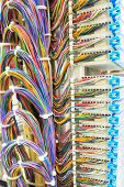 Stack Of Colorful Electronic Wire In Socket Board Of Ditigal Telecommunication Contral Room