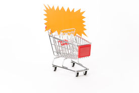 foto of caddy  - Caddy for shopping with discount coupon on white background - JPG