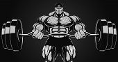 Illustration, bodybuilder with a barbell