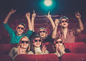 picture of watching movie  - Group of people in 3D glasses watching movie in cinema - JPG