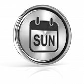 Sunday metallic icon 3d render
