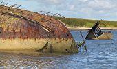 Shipwreck In Churchill Barriers. Skapa Flow. Orkney. Scotland