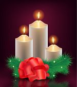 vector christmas, new year card, 3 burning candles with christmas tree