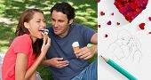 Woman eating ice cream while sitting with her friend against sketch of kissing couple with pencil