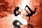 image of break-dance  - Cool break dancer against blurry new york street - JPG