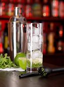 Mojito Cocktail Ingredients On Bar