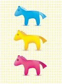 vector set of colorful cute toy horses icons isolated