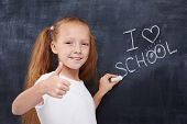 picture of pre-adolescent girl  - Beautiful ginger student girl looking forward for educational season and expressing positivity - JPG
