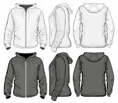 Men zip hoodie white and black. Vector illustration