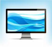 vector realistic computer monitor, pc display
