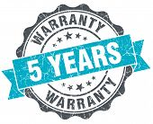5 Years Warranty Vintage Turquoise Seal Isolated On White