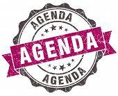 Agenda Grunge Violet Seal Isolated On White