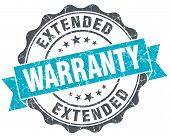 image of extend  - extended warranty vintage turquoise seal isolated on white - JPG