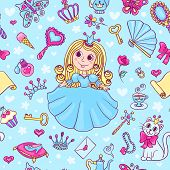 Seamless Pattern With Cute Little Princess In The Blue