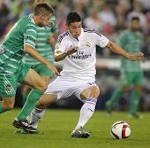 BARCELONA - OCT, 29: James Rodriguez of Real Madrid during the Spanish Kings Cup match against UE Cornella at the Estadi Cornella on October 29, 2014 in Barcelona, Spain