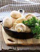 fresh raw mushrooms champignons with herbs parsley