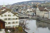 Exterior of the downtown Zurich buildings in Zurich, Switzerland.
