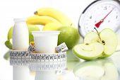 diet food yogurt fruit Apple meter scales