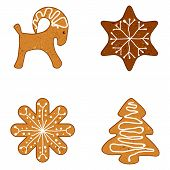 Ginger Christmas Cookies, Vector Illustration