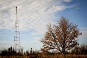 A red and white radio antenna tower in a remote field against a blue sky background.