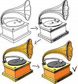 Vintage gramophone sketching progress