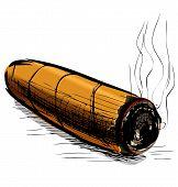 Lighting cigar sketch vector illustration