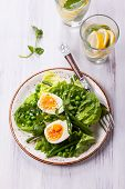 Spring salad with green beans,pea and eggs