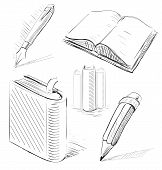 Books with pen and pencil.