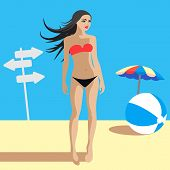 Beautiful Young Female on Summer Beach, Vector Illustration
