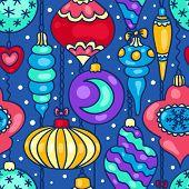 Christmas Tree Decorations Cartoon Seamless Pattern