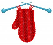 The Red Mitten Knitted On Spokes